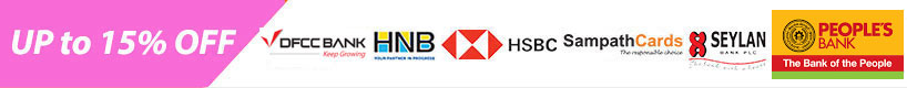 Up to 15% OFF HSBC,HNB,HSBC,Sampath,Seylan