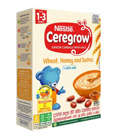 Nestlé CEREGROW Junior Cereal with Milk Wheat, Honey & Dates with Milk from 1-3 years, 250g Bag in Box Pack