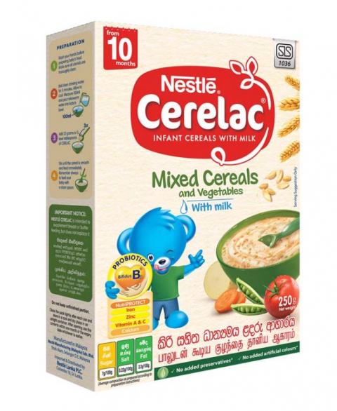 Nestlé CERELAC Infant Cereal with Milk Mixed Cereals & vegetables with Milk from 10 months, 250g Bag in Box Pack