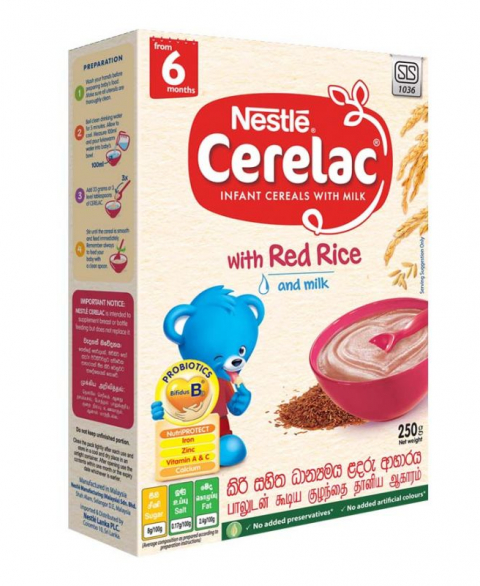Nestlé CERELAC Infant Cereal with Milk with Red Rice & Milk from 6 months, 250g Bag in Box Pack