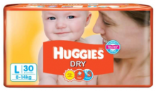 Huggies New Dry Size L 30 Pcs